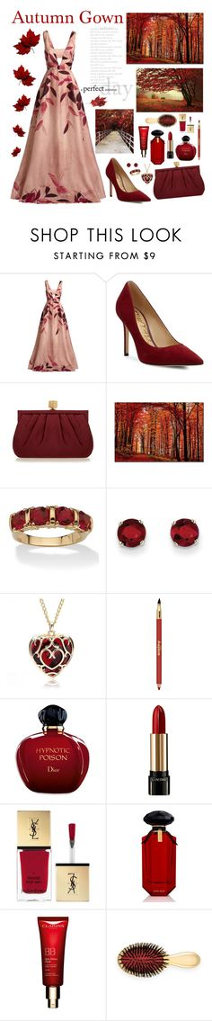 """Gown for a Perfect Autumn Day"" by whims-and-craze ❤ liked on Polyvore featuring Lela Rose, Sam Edelman, Wilbur & Gussie, Trademark Fine Art, Palm Beach Jewelry, Kevin Jewelers, Sisley Paris, Christian Dior, Lancôme and Yves Saint Laurent"