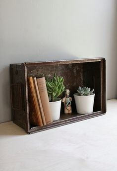 vintage industrial metal crate