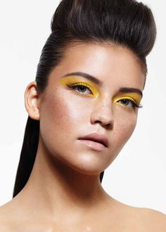 Yellow eyeshadow, nude lipstick, clean makeup. By Amber Carroll, Auckland, NZ.