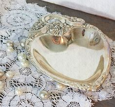 Vintage Silver Plate Heart Shaped Dish