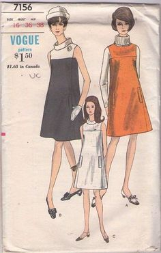 MOMSPatterns Vintage Sewing Patterns - Vogue 7156 Vintage 60's Sewing Pattern FAB Mod Space Age Yoked Color Block Flared Jumper, Sleeveless Roll Collar Dress, Square Armholes Size 16