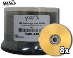 MAM-A DVD-R 8X ARCHIVE GOLD, GOLD INK JET 50 Pack (.... $119.50. Gold Inkjet Printable Finally a DVD suitable for storing your most precious files with inkjet printable surface! The Mitsui/MAM Gold DVD is designed for applications requiring long-term storage of sensitive data, video or music files. The reflective layer is comprised of 24 karat gold, which allows maximum resistance to chemical breakdown -- one of the major causes of disc failure. Mitsui/MAM-A inkjet s...