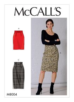 McCall's Sewing Pattern 8004 Misses size Easy Fitted Lined Skirts 3 Lengths Mccalls Sewing Patterns, Simplicity Sewing Patterns, Pattern Sewing, Sewing Clothes, Diy Clothes, Couture, Gilet Kimono, Dress Sash, Fitted Skirt