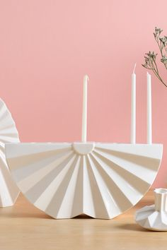 Hanukkah Menorah Modern geometric Judaica - White ceramic Contemporary Judaica Chanukah &wedding gift