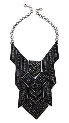 Deepa Gurnani Geometric Statement Necklace - leather bib with crystal details Colar Fashion, Fashion Necklace, Fashion Jewelry, Women's Fashion, Geometric Necklace, Geometric Jewelry, Bold Necklace, Maxi Collar, Jewelery