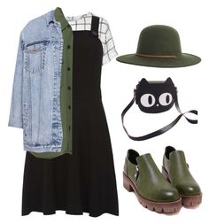 #Untitled by sphinx-moth on Polyvore featuring polyvore fashion style Dorothy Perkins Glamorous Zara Pull&Bear Brixton women's clothing women's fashion women female woman misses juniors denim trend military cat armygreen