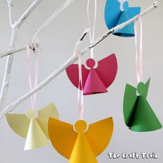 Make some sweet mini paper angels this Christmas. Use our template to create some ornament-sized angels perfect for hanging on your tree – so pretty!
