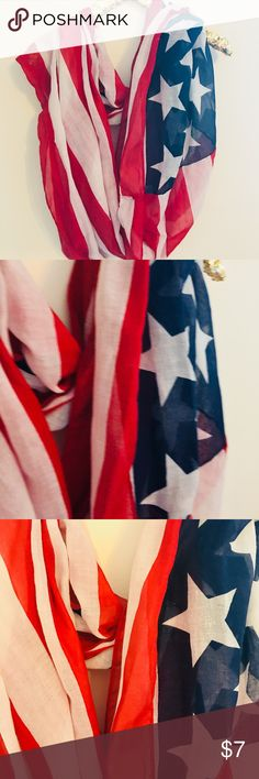 American Flag Scarf Circular scarf with American Flag print!! Show your American pride, y'all!! First picture is closest to actual color. Slightly sheer. Charlotte Russe Accessories Scarves & Wraps