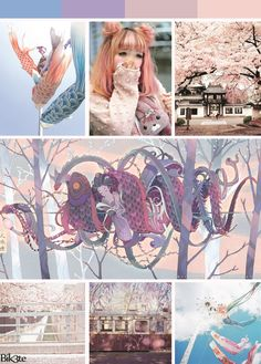 japanese pastel cherry blossom sakura kawaii koinobori dragon train create with photoshop by Bik3te