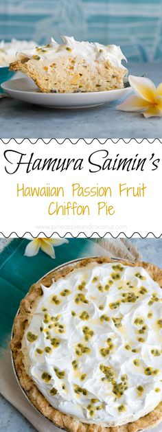 Hawaiian Passion Fruit Chiffon Pie - Copycat Hamura Saimin's Lilikoi Chiffon Pie. Just like the melt in your mouth pie from Hamura Saimin in Kauai. One bite and you will be transported to Hawaii.