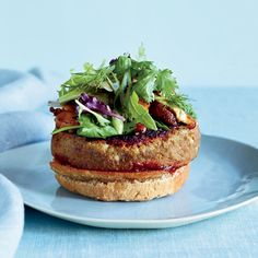 Veggie Burgers with Pomegranate Ketchup Recipe on Food & Wine - Eating vegan for a month led Richard Blais to examine his pantry more closely. He discovered that ground porcini mushrooms add a meaty flavor to dishes like his veggie burger. Lentil Recipes, Wine Recipes, Vegetarian Recipes, Cooking Recipes, Healthy Recipes, Vegetarian Sandwiches, Healthy Eats, Vegan Meals, Easy Recipes
