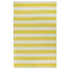 Designed to add color and interest to your indoor/ outdoor living space, this hand-woven area rug features a vibrant yellow and white color scheme in a modern stripe pattern. Accentuate any room or patio space with the bright look of this trendy rug.
