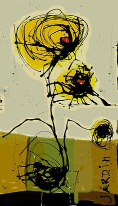 'jardin' by linda Vachon Art And Illustration, Modern Art, Contemporary Art, Art Graphique, Art Abstrait, Art Plastique, Painting Inspiration, Flower Art, Painting & Drawing