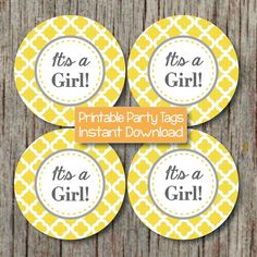 Yellow Grey Shower Printable Baby Shower by BumpAndBeyondDesigns, $4.00
