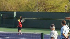 Ball Kid Practice at Indian Wells - Steb playing the part of the player.