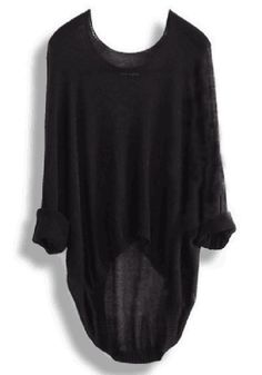 Black Plain Irregular Round Neck Dolman Sleeve Loose Casual Fashion Pullover Sweater