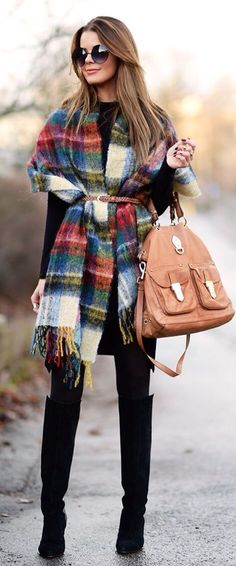 Not sure how to style a blanket scarf ? Try wearing it like a poncho and belting it at the waist. It not only adds an extra layer of warmth but it flatters your figure too. #affiliate
