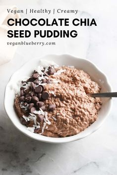 Easy, tasty, and healthy, this chocolate chia seed pudding is made rich and creamy with a blended base of homemade cashew milk, banana, and cocoa powder! Once you've tried it, there's no going back! #veganrecipes