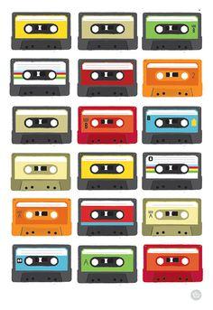 Retro Colourful tape casette art print by myretronest