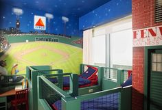 Baseball Themed Kids Room. Awesome I wish I had this as a little boy!