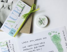 Einladung Taufe blau/grün + Babystempel