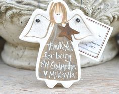 Mother's Day for Godmother! Handcrafted Salt Dough Gift Ornaments & by cookiedoughcreations
