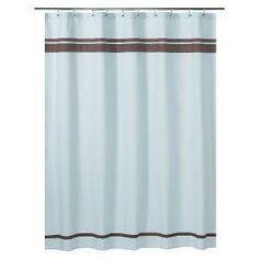 Sweet Jojo Designs Hotel Shower Curtain - Blue/Brown  this could be the one