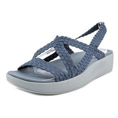 8959fcd3285 Easy Spirit e360 Brick Road Women Open-Toe Canvas Blue Slingback Sandal