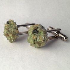 Men's Hand Crafted Green Stone Mixture Cufflinks / by Lynx2Cuffs, $23.99