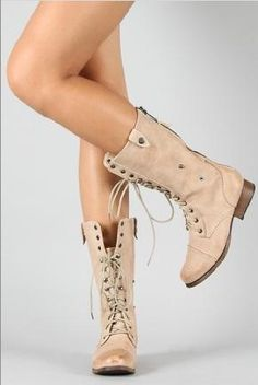Lace Up Military Combat Mid Calf Boot $35.00... I have to have these.