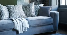 Geometric Print cushions bring a modern twist to a classic design. Contemporary Recliners, Parker Knoll, Traditional Chairs, Printed Cushions, Simple Elegance, Blue Grey, The Help, New Homes, Sofa