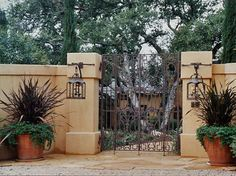 Warm colors and intricate scrollwork make this entry feel inviting. Love the low-maintenance containers of Phormium and the graceful transition from one walkway material to another. Design by Frank and Grossman.