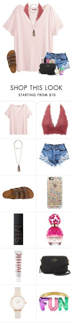 """semi-ready for spring "" by simply-positive-prep ❤ liked on Polyvore featuring H&M, Charlotte Russe, Bettina Duncan, Birkenstock, Casetify, NARS Cosmetics, Marc Jacobs, MILK MAKEUP, Kate Spade and Olivia Burton"