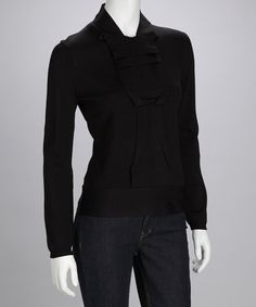 Take a look at this Black Pleated Sweater by Simply Chic: Sweaters & Tops on #zulily today!