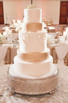 #Wedding #Reception #Wedding Cake #White #Gold