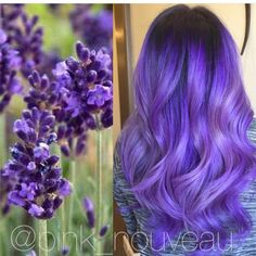 Inspired by flowers! Beautiful lavender hair color and long wavy hair by Pink Nouveau salon Purple hair color Hair painting hotonbeauty.com