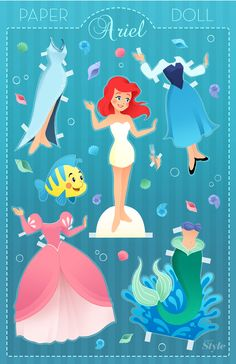 A paper doll inspired by everyone's favorite little mermaid, Ariel.