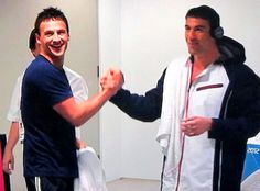 Lochte & Phelps in the ready room celebrating Nathan Adrians gold in the 100 freestyle