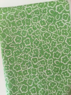 White Flowers On Green Denyse Schmidt Katie Jump Rope Quilt Fabric Fat Quarter by littleswedeheart on Etsy