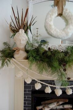 Two EASY and free ways to decorate: cut greenery from a park and put it in conta. Two EASY and fre Christmas Fireplace, Christmas Mantels, Christmas Home, Christmas Holidays, Christmas Wreaths, Christmas Crafts, Christmas Ideas, Christmas Ornament, White Christmas Garland