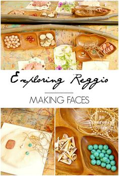 Exploring Reggio Series: Making faces - This post is part of the fortnightly Exploring Reggio series. In this post we saw how a mirror can enhance a child's play. Using natural playdough and interestingly textured loose materials, we explored faces. {from An Everyday Story}