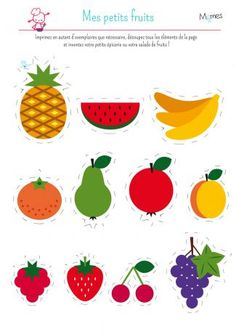 My little dinette: fruits - - Watermelon Clipart, Fruit Clipart, Image Fruit, Fruit Crafts, Fruit Recipes, Fruits And Vegetables, Preschool Activities, Art Lessons, Screen Printing