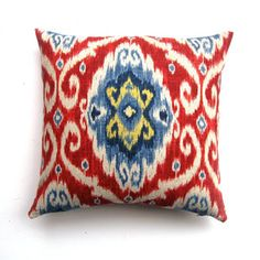 Navy And Red Ikat Pillow now featured on Fab.