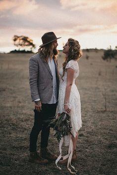 BEC + JOEL // #wedding #bride #groom #dress #suit #flowers #bouquet #lace #outdoors #rustic #bohemian #elopement