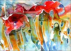 Watercolor inspiration- fun with a little rubber cement and paint