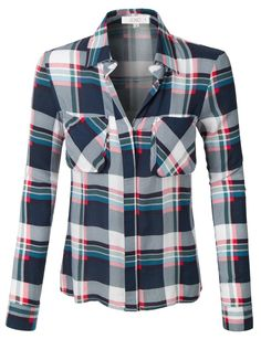 LE3NO Womens Loose Plaid Button Down Shirt with Roll Up Sleeves