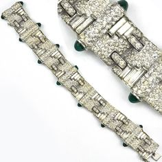 KTF Trifari 'Alfred Philippe' Pave with Baguette Slashes and Emerald Cabochons Deco Link Bracelet Mid 1930's  $ 1725