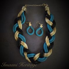 Twisted Cascade Braided Mesh Necklace Mesh by ImaaniHeritage