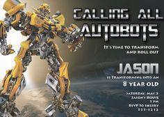 Transformers Birthday Invitation  High by ElectricCityGraphix, $8.00