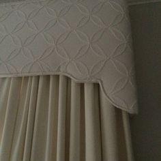 Beautiful embroidered fabric cornice.